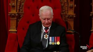Gov. Gen. David Johnston announces Liberal government will legalize marijuana during throne speech